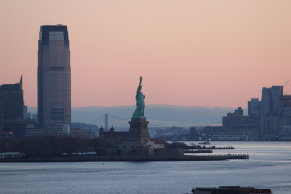 sunrise with Statue of Liberty