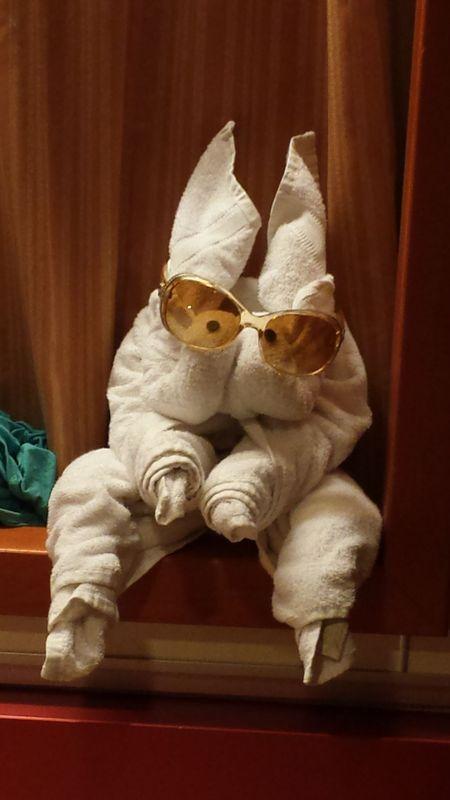 Carnival Ecstasy cabin GUAR - mystery towel animal lol