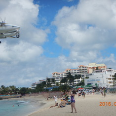 Plane landing at Maho Beach, St. Maartin.
