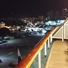 Night time view from balcony