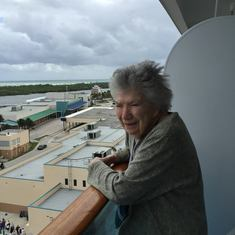 Mom on the balcony of Island Princess A303 Balcony