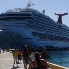 Our ship from the port at Grand Turk.