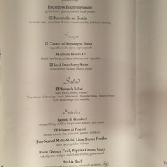 Main Dining Room - Dinner Menu