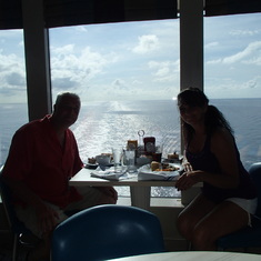 A quick snack at the Buffet (back of ship)