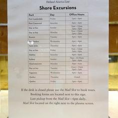 Shore Excursions list