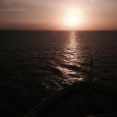 sunset from front of ship