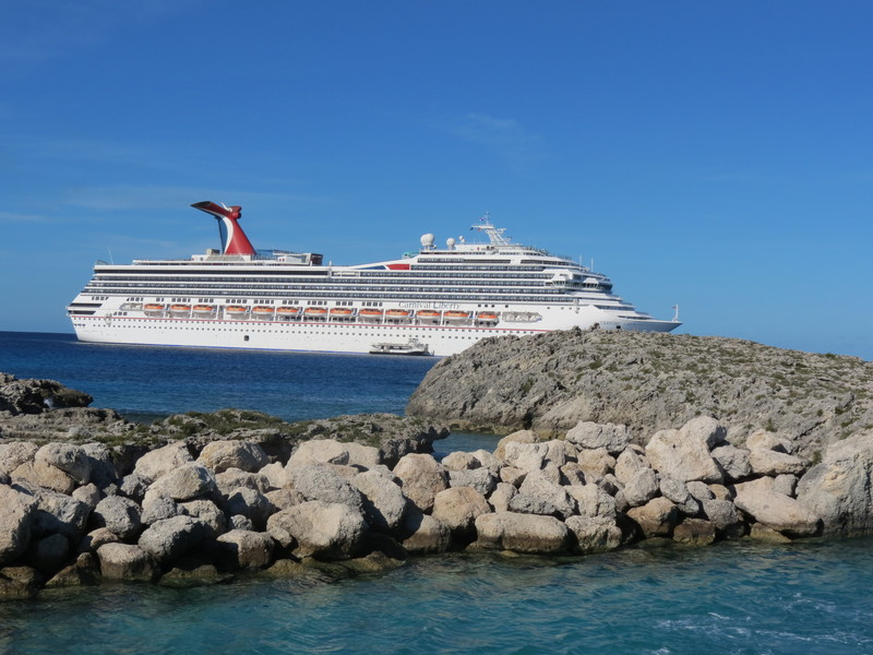 Looking at the ship on the tender to Half Moon Cay - Carnival Liberty