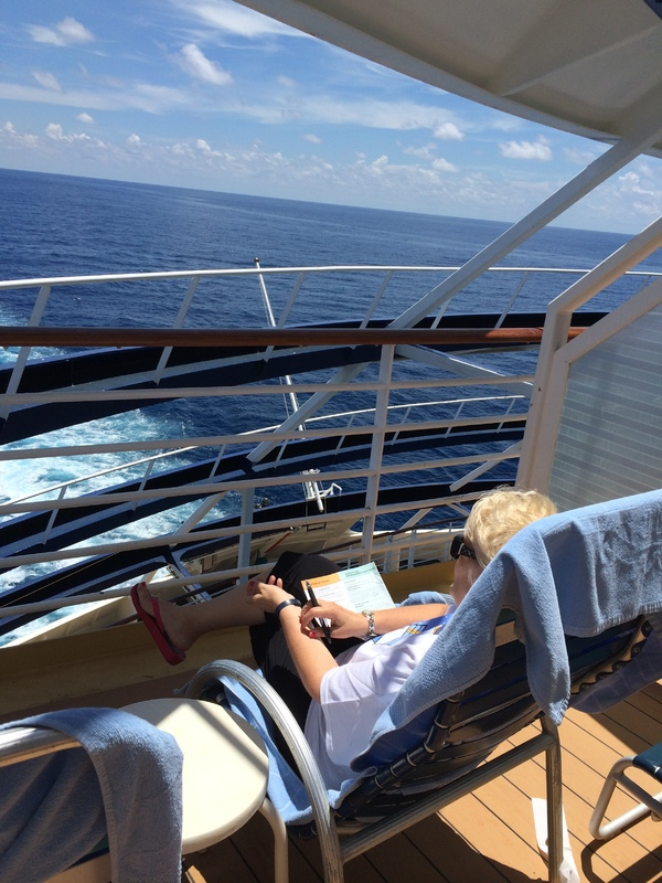Note Iron work, but large balcony, 3 chairs and table easily fit. - Navigator of the Seas