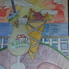 My daughter's first school art project after the cruise. What was on her mind.