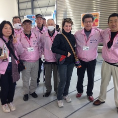 With the cruise greeters in Hiroshima