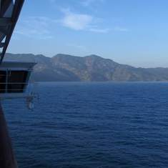 Freedom of the Seas approaching Labadee - from cabin 1236