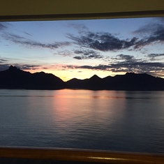 Sunrise going into Glacier Bay