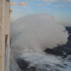Seconds later, this wave wash up on balcony