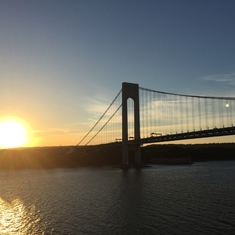 Leaving NY under the Verrazano's Narrow Bridge at sunset!