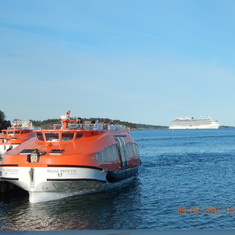 Tender boat to Stockholm port