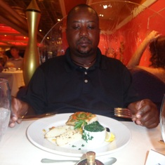 Bridgetown, Barbados - That's one big man and so little food