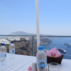 Santorini, Greece - Firostefani cafe lunch view