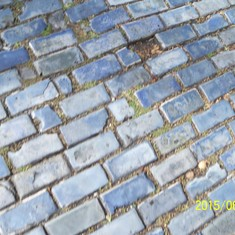 Blue cobblestone streets. I love the sound the cars make when they drive over it