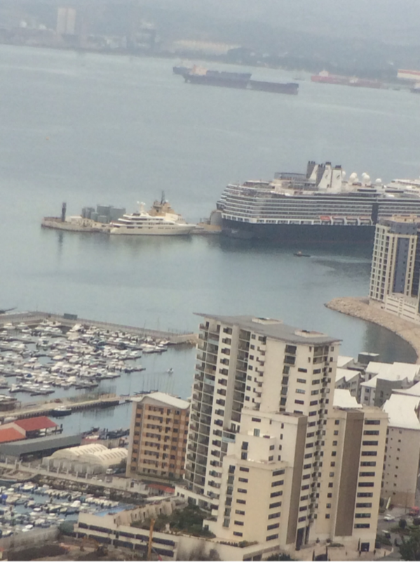 Gibraltar  (U.K.) - view of ship from Rock of Gibraltar