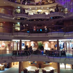 Victoria, British Columbia - Atrium at night on Jewel of the Seas