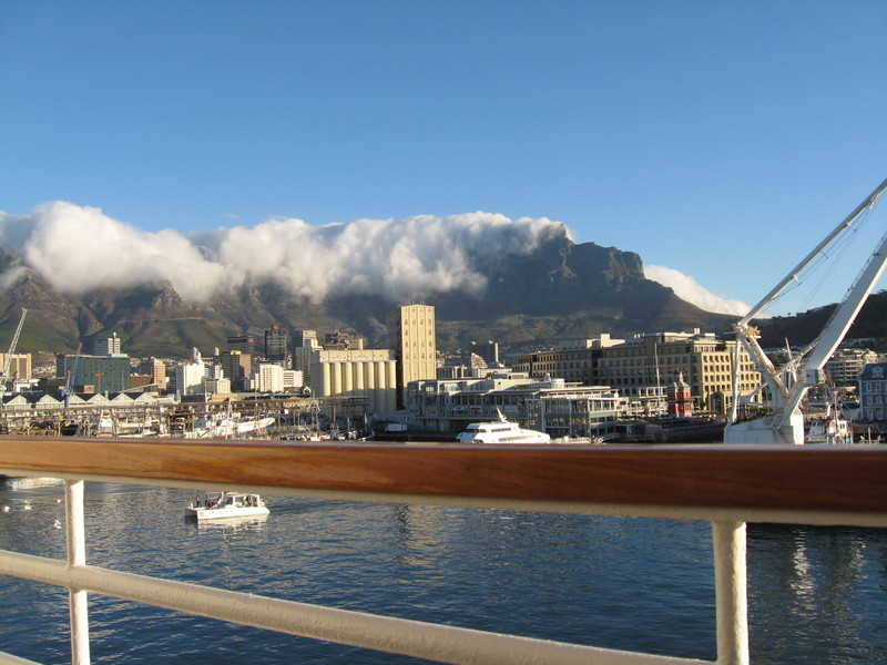 "Cape Town, South Africa - See the ""Table Cloth"" just beginning to cover Table Mountain at Cape Town?"