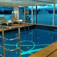 Indoor swimming pool on a river cruise!