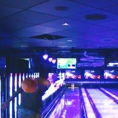 Here I am trying to get a spear in one of the Norwegian Epic's bowling allies!