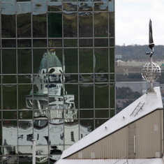 Refection of Clock tower off Buildings, Halifax, NS, CANADA