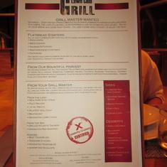 Lawn Club Grill menu