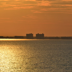 Cocoa Beach condos at sunset from the ship