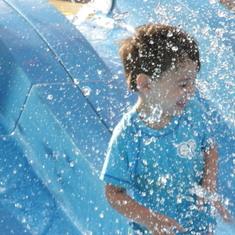 N at the water slide