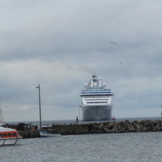 The ship from dock where we catch the tender boat