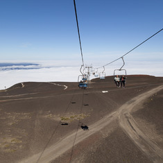Cable car above cloud level, Mount Osorno
