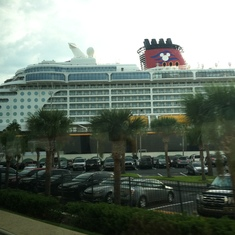 Disney Dream, from the window of our bus back to the airport
