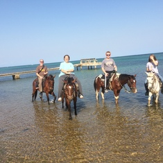 Mahogany Bay, Roatan, Bay Islands, Honduras - Horseback riding on beach