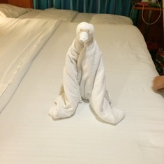 Towel animals greeted us every day!