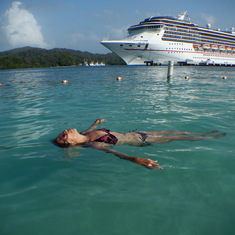Relaxing at Mohagany Bay, Honduras, Carnival Legend
