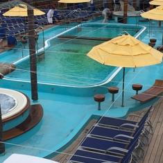 1ft deep green, unusable pool.