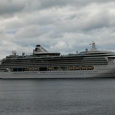Radiance of the Seas anchored at Icy Strait Point