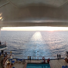 Sunset from the fantail.