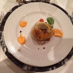 Main dining room, crab cake