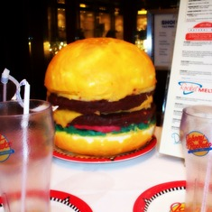 Hamburger cake at Johnny Rockets