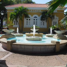 A fountain in the historic area