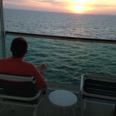 Sunset departing Galveston from our spacious balcony.