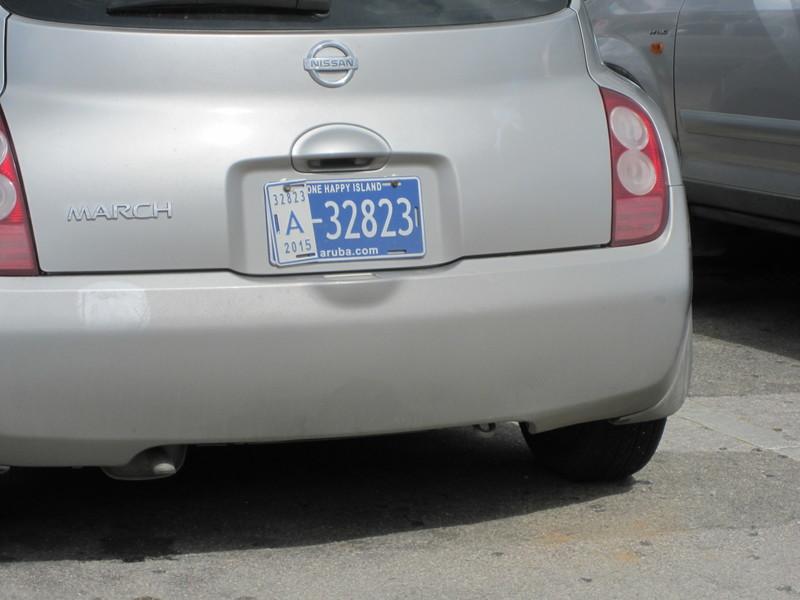 Oranjestad, Aruba - Even the liscense plates say the island is happy!