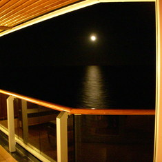 View of Moon off Penthouse Suite Balcony, Westerdam