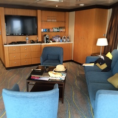The living area in the suite