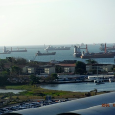 Colon, Panama: Ships waiting to enter Panama Canal