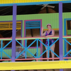 Half Moon Cay, Bahamas (Private Island) - me on the 2nd level of our villa on Half Moon Cay.