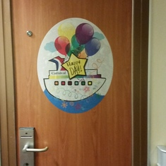 Birthday sign on our cabin door